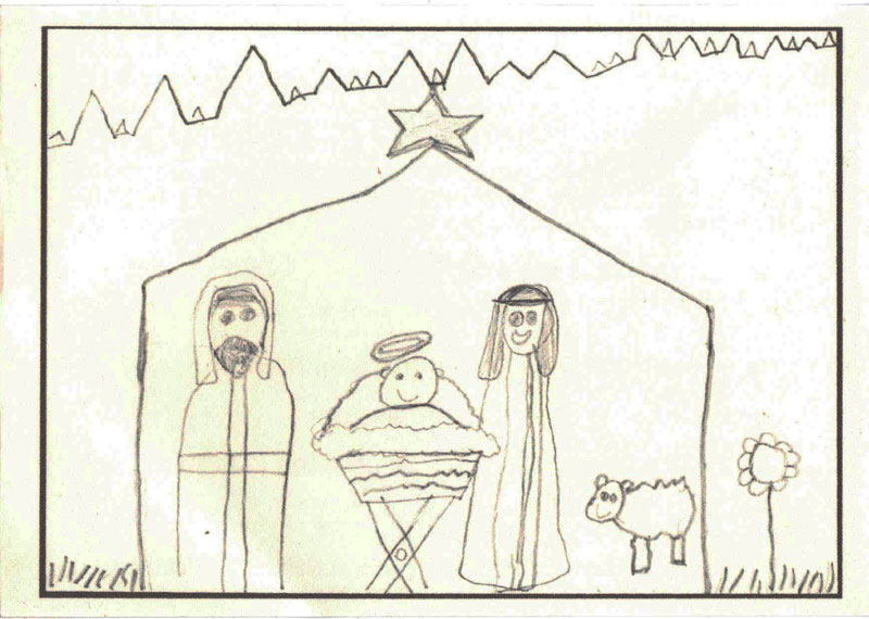 Picture Joseph ,Jesus, Mary drawn by a child