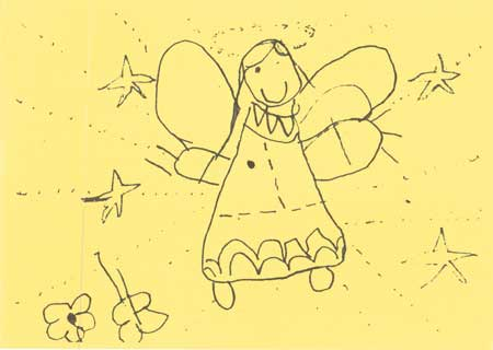 school childs drawing of an angel on yellow