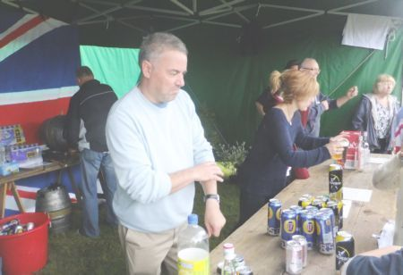 beer tent prople being served