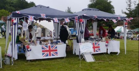 Stalls decked out with Union Jacks
