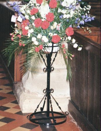 Flowers in church on stand