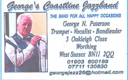 Georges Coastline Jazzband Bussiness card