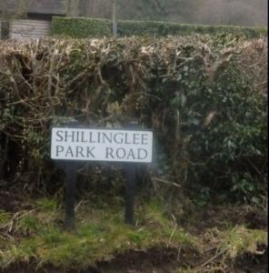Road sign at Whites Hill reads Shillinglee Park Road