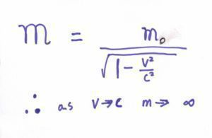 mass increases with velocity - formular
